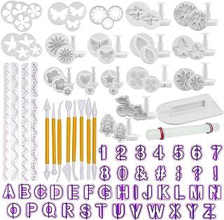 TIMESETL 108pcs outils de décoration de gâteau, moules de caractères alphanumériques de fleur rose définis pour fondant, s...