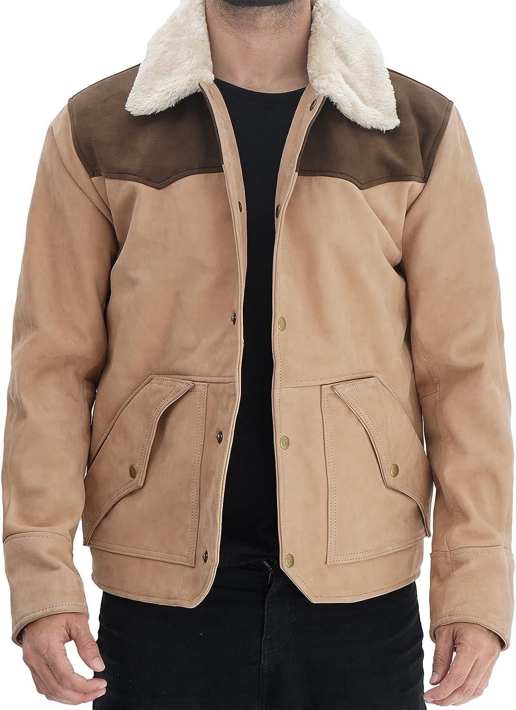 Blingsoul Shearling Leather Jacket Men - Brown & Beige Real Suede Jacket