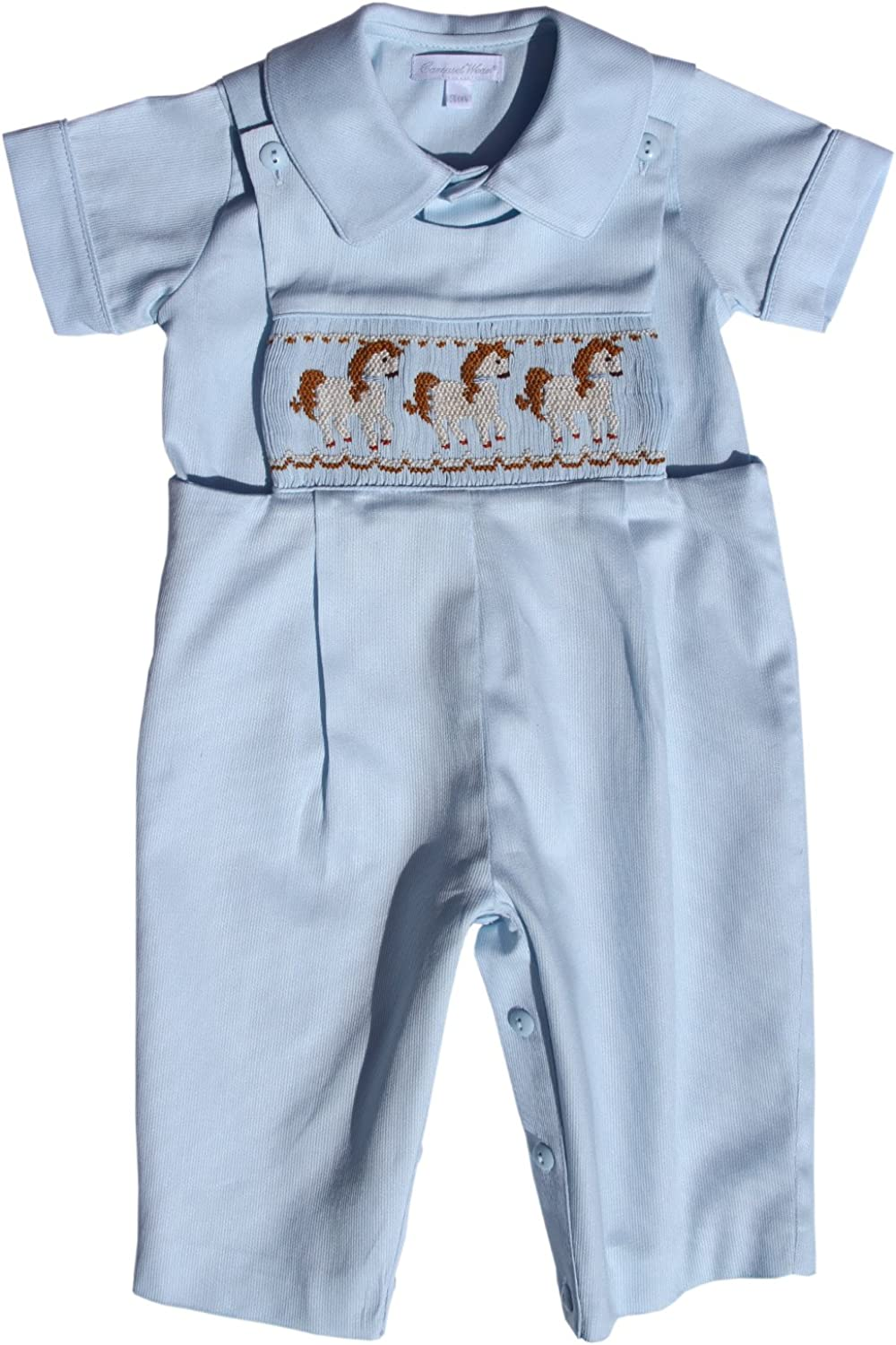 Carouselwear Baby Boy Blue Longall Overalls with Smocked Carousel Horses