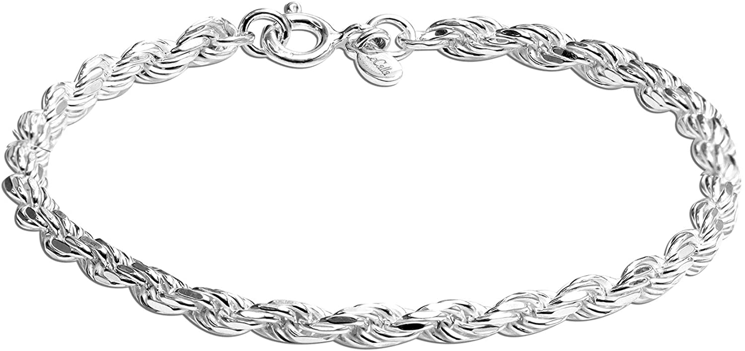 LeCalla Links Sterling Silver Jewelry 4 MM Rope Chain Bracelet f