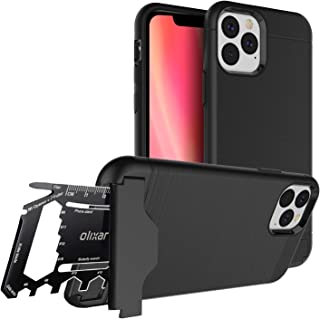 Olixar for iPhone 11 Pro Max Tough Case - with 26 in 1 Survival Multi Tool - Protective Armour Cover - Credit Card Slot & Built in Stand - X-Ranger - Black