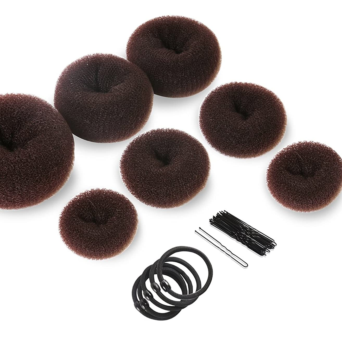Donut Hair Bun Maker 7 Pieces, Teenitor Ring Style Bun Maker Set with Hair Bun Makers (1 extra-large, 2 large, 2 medium and 2 small), 5 pieces Hair Elastic Bands, 20 pieces Hair Pins, Dark Brown