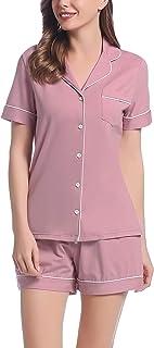 Joyaria Cotton Pajamas Button Down Pj Short Sleeve Sleepwear Shorts Set Small-XXL