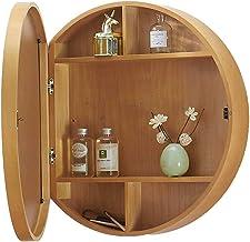 Ronde badkamer ijdelheid spiegel met kast, badkamer met muur opbergkast make-up spiegel, geneeskunde kast met langzaam dic...