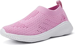 ALLY BELLY Boys Girls Walking Shoes Comfortable Casual Shoes Slip on Sneakers for Toddler Little Kid Pink Size: 1.5 Little Kid