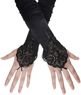 Penta Angel 1920s Black Long Opera Gloves with Finger Loops Stretchy Fingerless Floral Embroidery Sequins Stain Evening Bridal Party Elbow Gloves for Women Girls Theme Party Halloween Costume