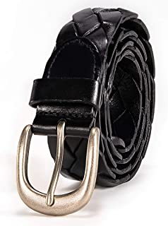 Mens Real Genuine Leather Belt Black Brown White 1.5 Wide S-L Casual Jeans CU8