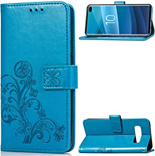 PULUZ-AU Phone Protective Cover Lucky Clover Pressed Flowers Pattern Leather Case for Galaxy S10+, with Holder & Card Slot...