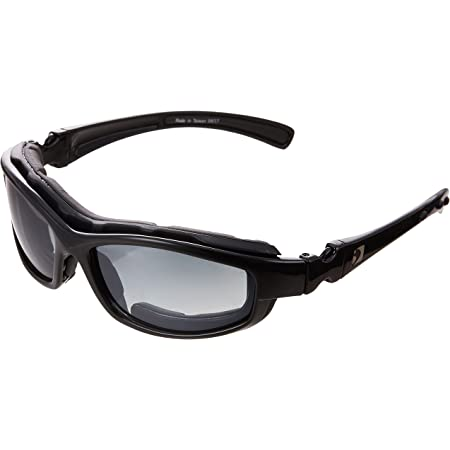 Bobster BRH2001 Road Hog II Prescription Ready Sunglasses,Black Frame/4 Lenses (Dual Grade Reflective/Smoked/Amber and Clear),one size