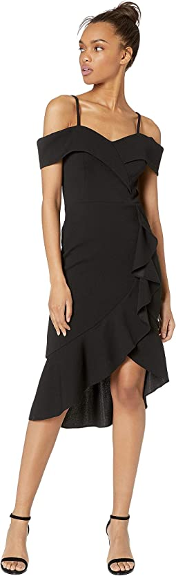 Off Shoulder Cascade Ruffle Flounce Dress