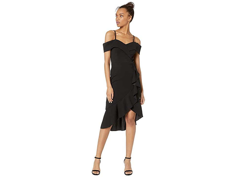 Bebe Off Shoulder Cascade Ruffle Flounce Dress (Black) Women