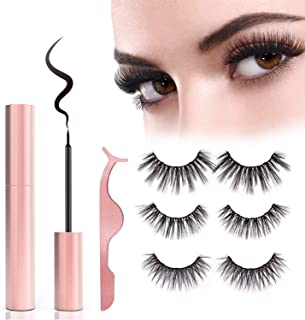 Magnetic Eyeliner and Lashes 3 Pairs, 3D Magnetic Eyelashes with Eyeliner Kit, Waterproof Natural Look Reusable 5 Magnets False Lashes and Liner with Applicator