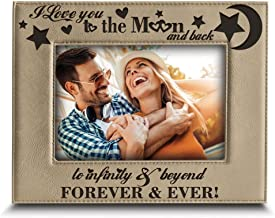 BELLA BUSTA - I Love You to The Moon and Back, to Infinity and Beyond, Forever & Ever - Engraved Leather Picture Frame (4