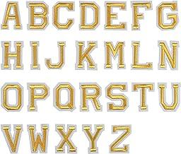 Jinlaili 52 STKS Strijkijzer op Letter Patches, A-Z Alfabet Applique Patches, Gouden Applique Letters, Stof Geborduurde Le...