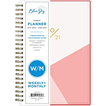 "Blue Sky 2020-2021 Academic Year Weekly & Monthly Planner, Flexible Cover, Twin-Wire Binding, 5"" x 8"", Cali Pink"