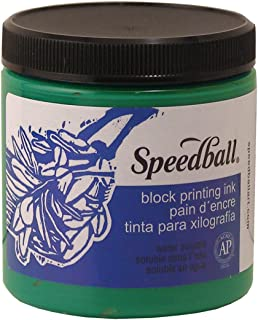 Speedball Art Products Company 3804 Water-Soluble Block Printing Ink – Bold Color With Satin Finish AP Certified Non-Toxic - 8 FL OZ, Green - 408242