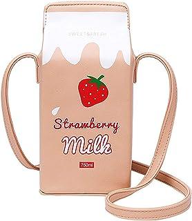 Cute Milk Box Purse, Techcircle PU Leather Crossbody Bag Waterproof Casual Phone Wallet Travel Makeup Bag Gadget Organizer...