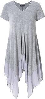 7318ec945e5 AMZ PLUS Womens Plus Size Short Sleeve Spliced Asymmetrical Tunic Top Grey  4XL