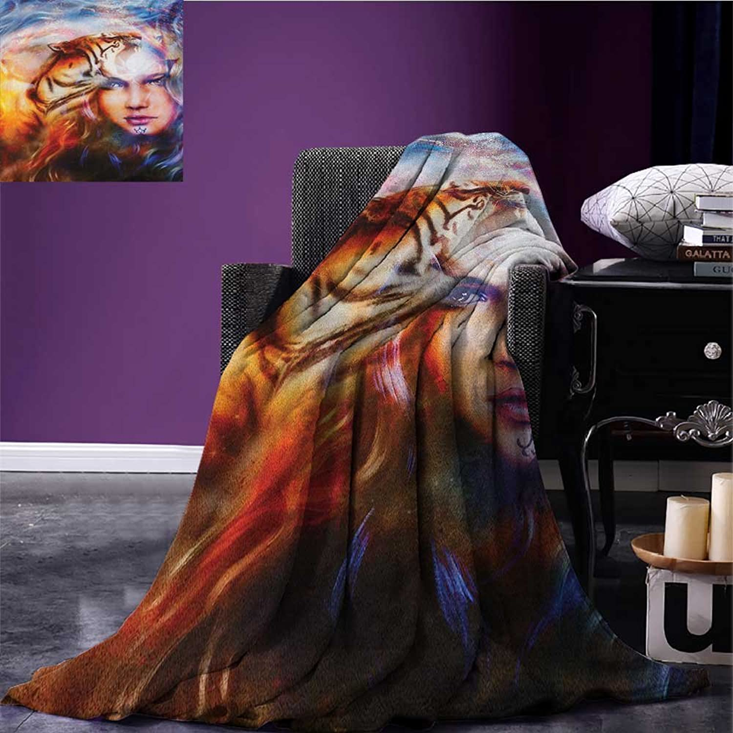 Mystic Summer Blanket Mighty Tiger and Lion Head with Woman Face on Ornamental Background Artwork Flannel Yellow Brown bluee Size 59 x35.5