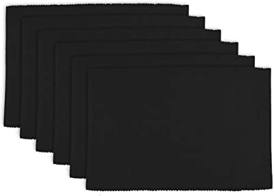 Dii 100 Cotton Basic Ribbed Placemat Set Black 6 Count Home Kitchen