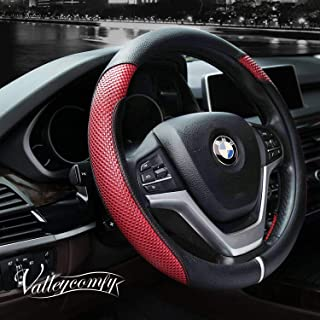 Valleycomfy Steering Wheel Cover with Microfiber Leather for Car Truck SUV 15 inch (Style-Red)