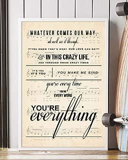 Trendora Decor Everything Song Lyrics Portrait Poster Print (12