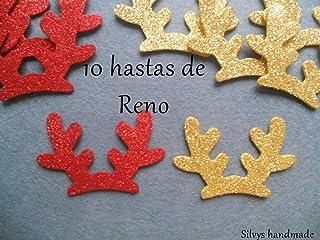 Decoración Navidad: hastas de reno de 4,4 x 7,4 cm. aprox. de goma eva brillante