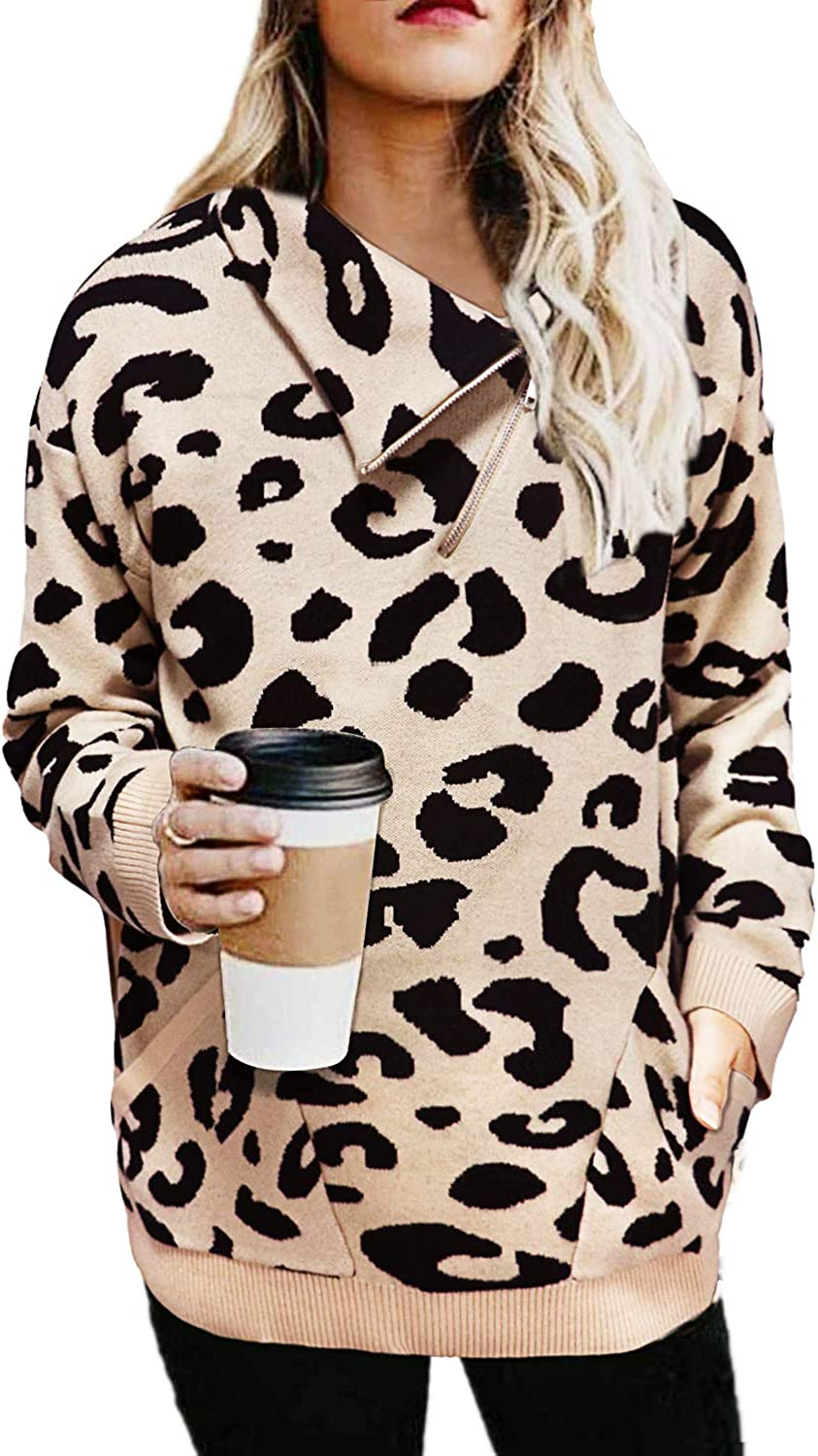 Womens Turtleneck Leopard Sweaters Long Sleeve Chunky Knitted Pullover Sweater Tops Two Way of Wearing