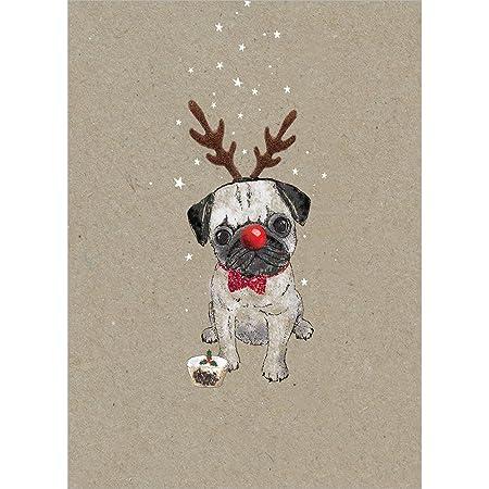 CUTE /& FESTIVE PUG MINI PACK OF 12 CHRISTMAS CARDS