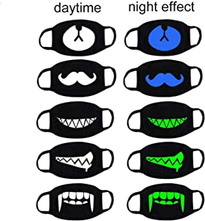 Luomi Cool Luminous 5 Pack Unisex Cotton Anti Dust Face Mouth Mask for Man Woman