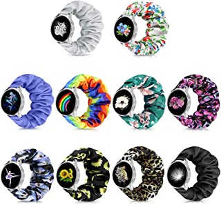 20mm Floral Pattern Watch Band, Elastic Scrunchie Watch Band for Women, Replacement Wristband Pattern Cute Band Soft Class...