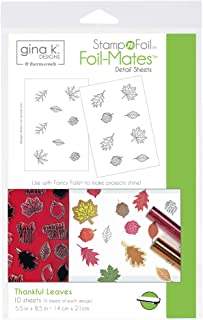 Gina K. Designs for Therm O Web 18104 StampnFoil Foil-Mates Detail Sheet, 5.5-x-8.5-Inch, Thankful Leaves