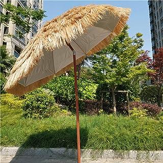 Parasol Straw, Outdoor Round Tiki 1.8m, Hawaiian Style Garden Umbrella, Natural Color Artificial Umbrella, Tiltable Design...
