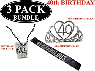 40th - FORTIETH BIRTHDAY Black Party Sash - Black and Silver Glitter Sash - Birthday Shot Glass Necklace - 40th Birthday Rhinestone Tiara - Party Favors - Supplies and Decorations - Funny Birthday