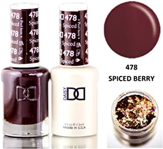 Daisy DND Reds Soak Off GEL POLISH DUO, All In One Gel Lacquer + Matching Nail Polish Color for Nails (with bonus side Glitter) Made in USA (Spiced Berry (478).)