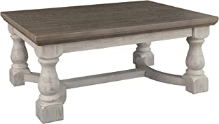 Signature Design by Ashley - Havalance Farmhouse Cocktail Table, Whitewash/Brown Wood
