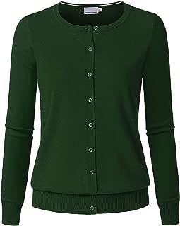 Women's Long Sleeve Button Down Crew Neck Soft Knit Cardigan Sweater
