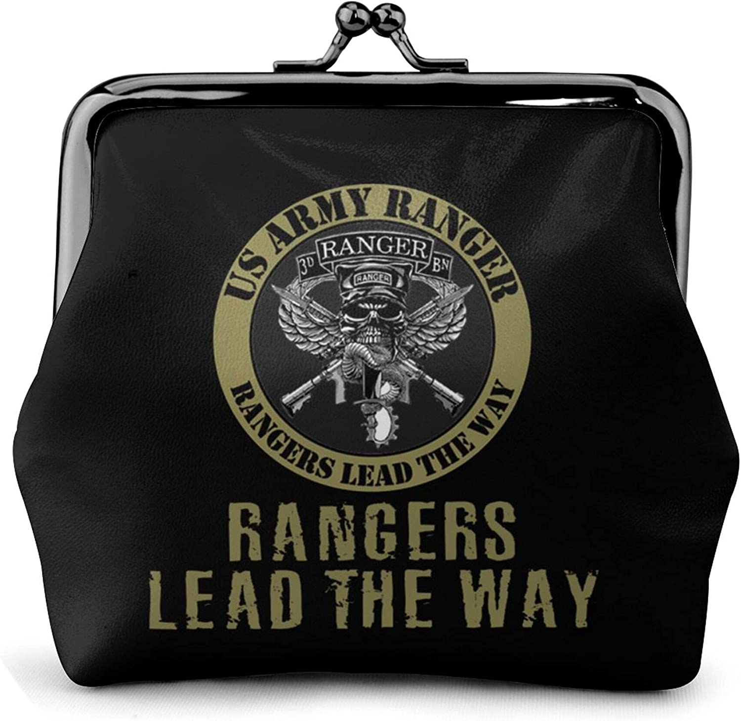Us Army Ranger Lead The Way Leather Squeeze Coin Purse Pouch Change Holder For Men & Women