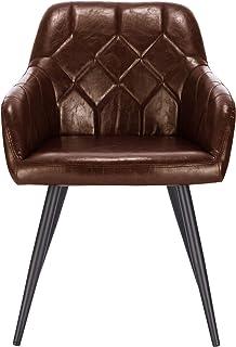 Lestarain 1X Sillas de Comedor Dining Chairs Sillas Tapizadas Sillas Salón Sillas Cocina Nórdicas Cuero Sintético Paquete de 1 Sillas Bar Metal Silla de Oficina Marrón Oscuro