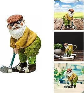 Golfer Gnome Sculpture, Resin Dwarf Old Man Golfer Statues, Elf Golfer Old Man Garden Outdoor Figurines, Patio Lawn Crafts Statue Garden Gardening Desktop Decoration-Large