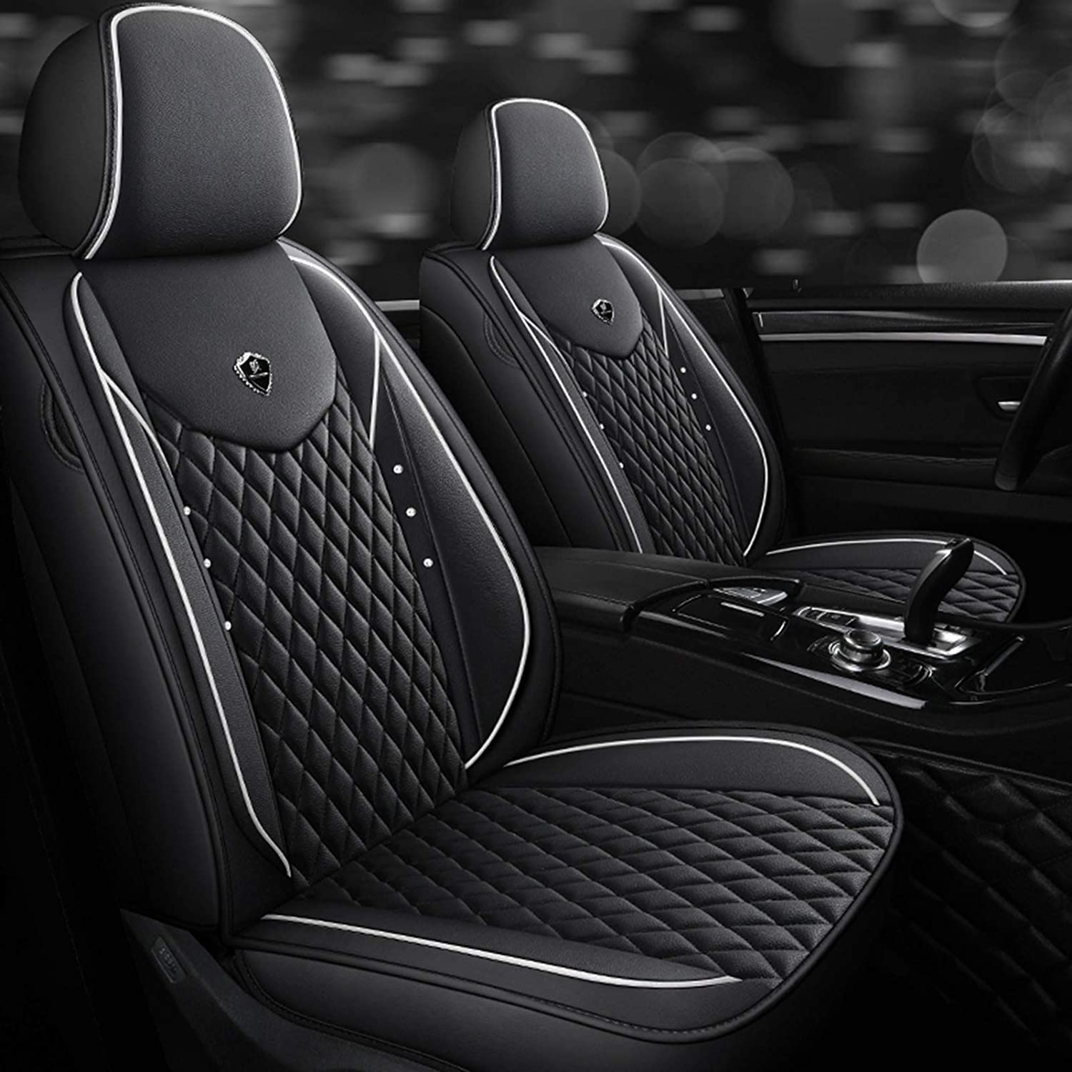 Max 77% OFF HZWZ Cars Seat Covers PU Leather Front Rear Very popular Rhinestone Bling Ful