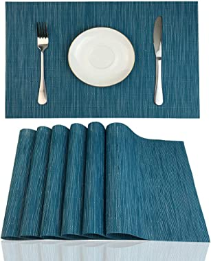 Red-A Placemats Set of 6 for Dining Table Heat-Resistant Washable Place Mats Woven Vinyl Kitchen Table Mats Easy to Clean,Blu