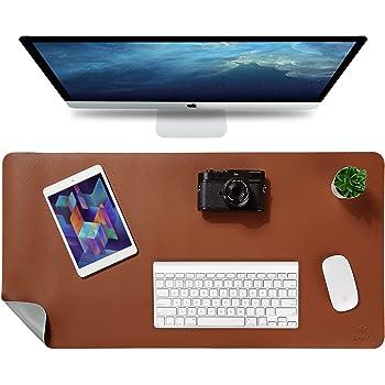 "Knodel Desk Pad, Office Desk Mat, 31.5"" x 15.7"" PU Leather Desk Blotter, Laptop Desk Mat, Waterproof Desk Writing Pad for Office and Home, Dual-Sided (Brown)"