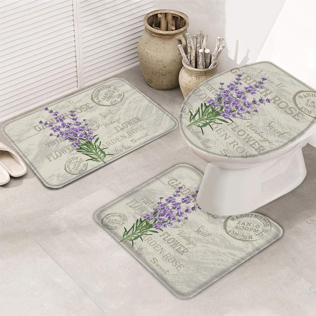 Postcard Purple Lavender Non Slip Bathroom Rug+U-Shaped Contour Toilet Mat+Toilet Lid Cover Absorbent/&Washable 3 Pcs Mats Set for Bathroom//Home Bath Rugs Mats Set of 3