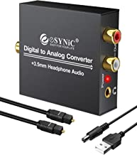 eSynic DAC Digital to Analog Audio Converter Digital Optical SPDIF Coaxial to Analog L/R RCA Converter Toslink to 3.5mm Jack Audio Adapter with 1m Optical Cable for HDTV Blu Ray HD DVD Apple TV