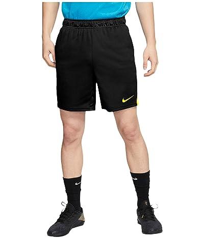 Nike Dry-FIT Knit Short 5.0 (Black/Lemon Venom/Lemon Venom) Men