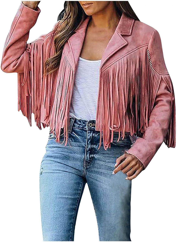 Excellent VEKDONE Fringe Jackets for unisex Women Jacket Cropped Biker Faux Moto