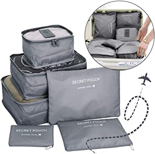 Go2buy 6pcs Travel Luggage Organizer Set Backpack Storage Pouches Suitcase Packing Bags (Grey)
