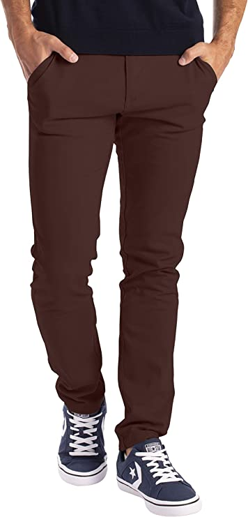 Mens Slim Fit Stretch Chino Trousers Casual Flat Front Flex Full Pants Free Ship