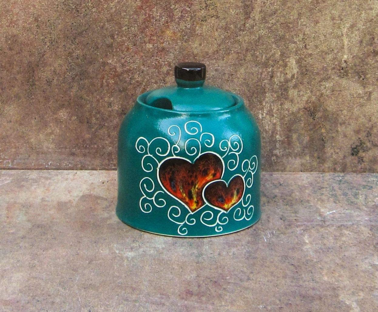 DAOSTOR Green Heart Sugar Bowl 10 Gift Max 68% OFF sold out Â«Gre oz. 300 Idea ml